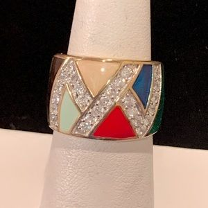 Geometric Sterling Enamel Ring with CZ Accents